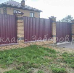 Забор из профлиста и кирпича-22