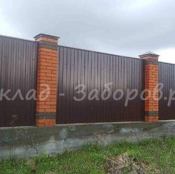 Забор из профлиста и кирпича-23